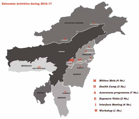 Map of North-Eastern Hill region showing the locations under programmes organized under TSP