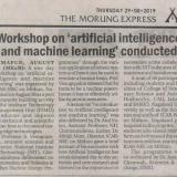 Workshop on 'artificial intelligence and machine learning' conducted.